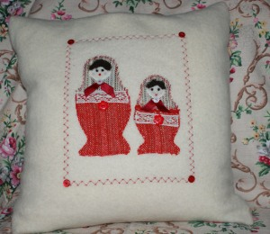 Red Matryoshka doll cushion
