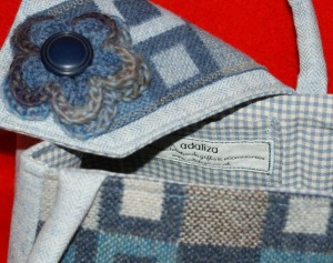 Inside the blue tweed bag - tiny blue gingham