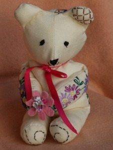 Cream linen teddy bear