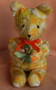 Vintage Springtime cotton teddy bear