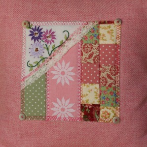 pink patchwork cushion