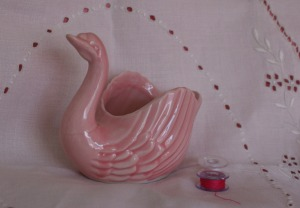 pink pottery swan