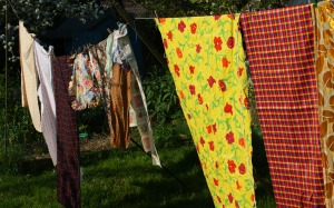 drying day - fresh fabrics handing out to dry!