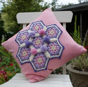 Pretty crochet cushion