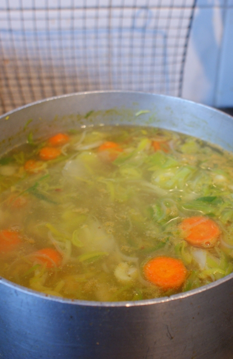 Leek & Potato Soup bubbling