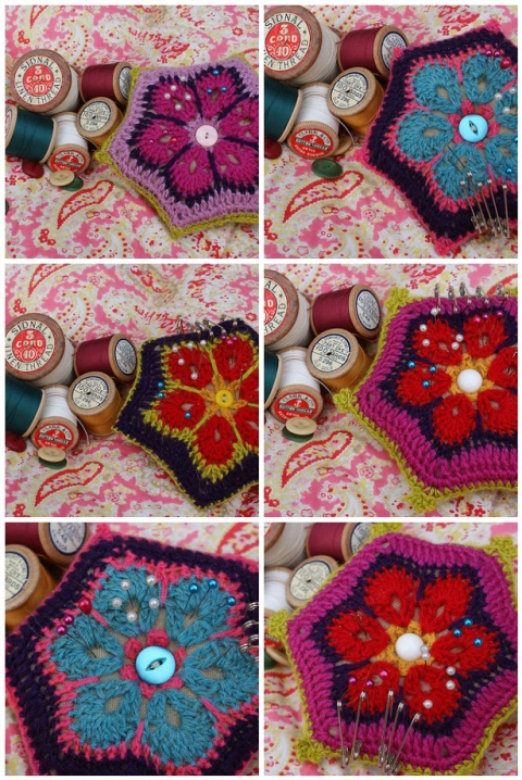 Linen pincushions with crochet motifs