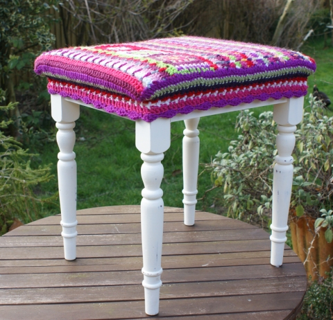 restored footstool with crochet cover