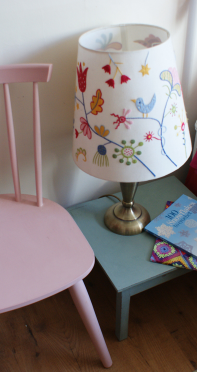 Pink stickback chair & fireside table in pastels