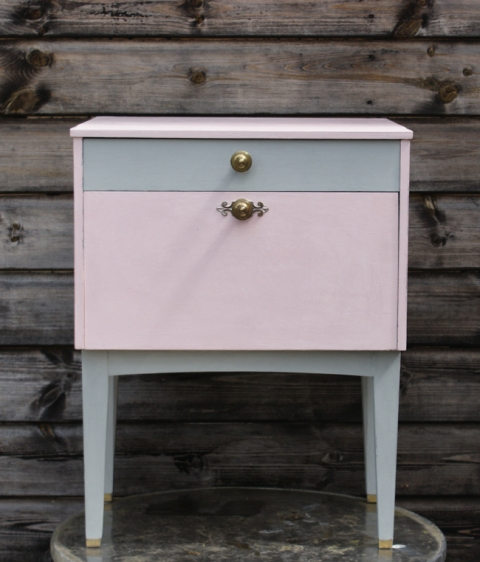 Retro pink & grey sewing cabinet