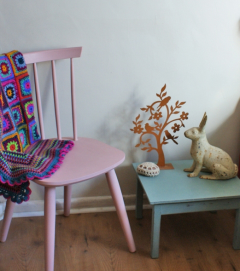 Pastel pink chair & duck egg blue side table