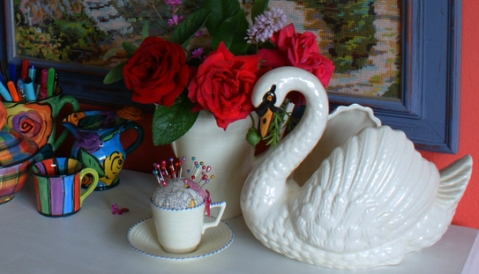 art deco pincushion and Dartmouth swan