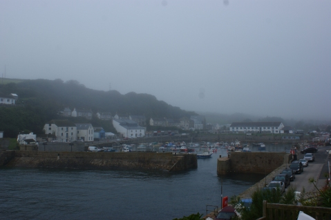 Thick sea mist over the harbour