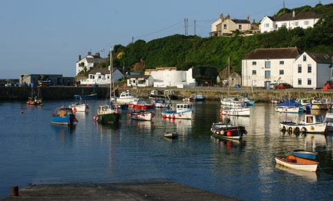 Porthleven Harbour at full-tide