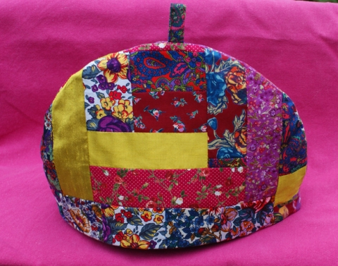 Liberty print & silk tea cosy