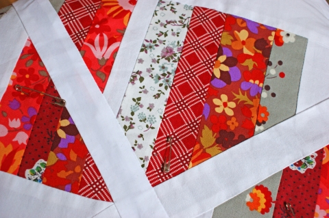 Snow on the Roof quilt - pinned and ready for quilting