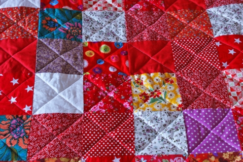 simple patchwork squares with diagonal quilting