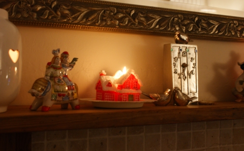 Christmas candle and New Year mantle