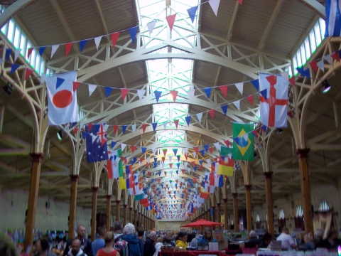 Barnstable Pannier Market had strung out the bunting, ready for our mooch around!
