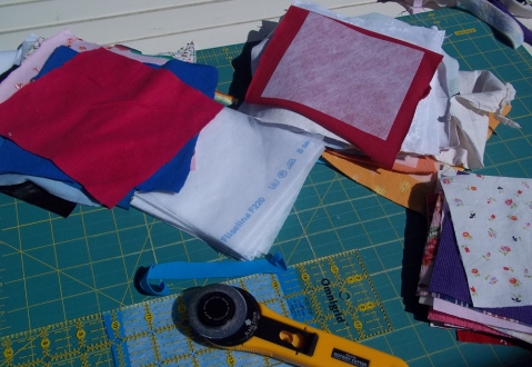 lots of backing to stop the fabrics stretching, then every patch trimmed to size