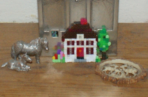 mini hama bead house