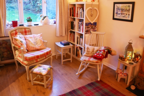 Ercol rocking chair and revamped French-style chair and footstool