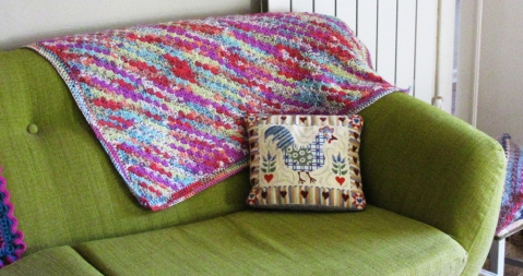 Spring c2c blanket and a tapestry cushion