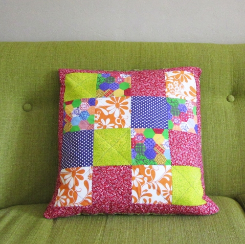 bright retro patchwork cushion