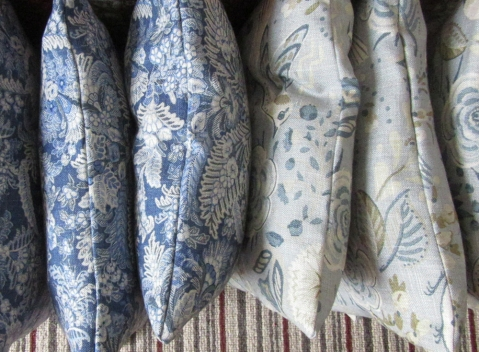 blue handmade cushions