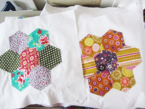 hand-stitched hexi patchwork