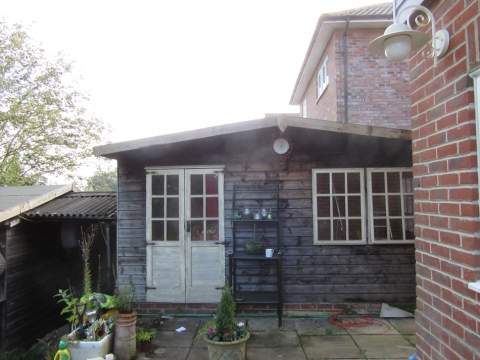before - wooden summerhouse