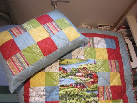 Seb's quilt + cushion